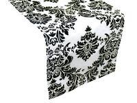 """Damask Table Runner 12"""" x 108"""" 3D Black White Flocking Flocked Velvet - USA Made"""
