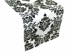 "Damask Table Runner 12"" x 108"" 3D Black White Flocking Flocked Velvet - USA Made"