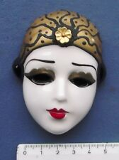 Porzellan Wandmaske Frauenkopf mit Echtgolddecor antik Art Déco um 1920
