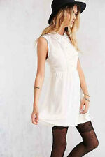 NWT COPE LACE COLLAR IVORY CHIFFON BUTTON FRONT DRESS URBAN OUTFITTERS M MD