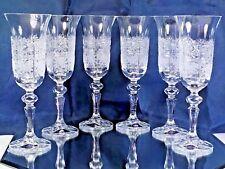 Crystal Glass Set of 6 Champagne Flute Wine Glasses Hund  Cut 5 oz  Bohemia