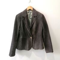 Liz Claiborne Women's Size 12 Brown Suede Leather Jacket Single Button Closure
