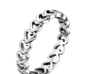 925 Sterling Silver Linked Love Ring - Choose your size
