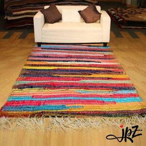 New Recycle Mat Handmade Cotton Multi Colour Chindi Rag Area Rug UK