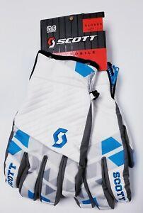 NEW $70 Scott Stencil Insulated Leather Ski Gloves Winter Mens Unisex White Blue