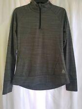 Reebok Womens Size Large Dark Gray Long Sleeve Quarter Zip Running Shirt