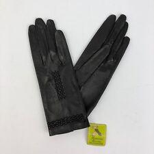 Vintage Black Leather Anticoli Women's Gloves - Size 7