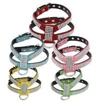 HK- Cat Dog Puppy Strap Harness Luxury Rhinestone Neck Collar Pet Supplies Surpr