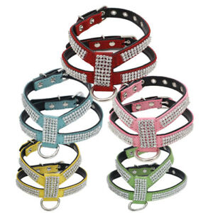 KQ_ Cat Dog Puppy Strap Harness Luxury Rhinestone Neck Collar Pet Supplies Welco