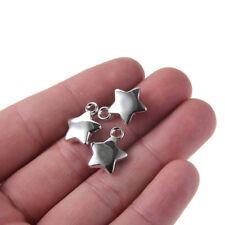 100pc CCB Plastic Silver Tone Pentagram Star Charm Pendant Beads 13*17MM