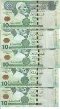 LIBYA LOT 5x 10 DINARS  P 70  2008.  VF CONDITION. 4RW 24OCT