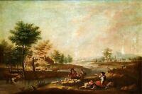 PAYSAGE AVEC PAYSANS. HUILE SUR TOILE. ÉCOLE ITALIENNE. ITALIE XVIII-XIX