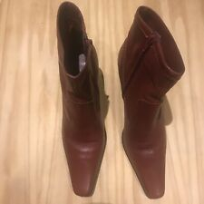 Clarks Womens Burgundy/dark Red Leather Zip Up Ankle Boots  Size Uk 6.5
