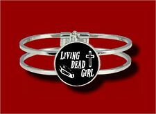 LIVING DEAD GIRL COFFIN CROSS PSYCHOBILLY GOTH HINGED BANGLE BRACELET