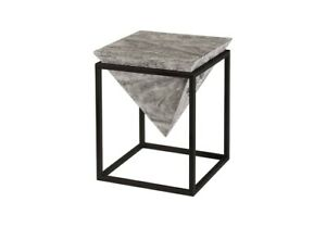 "14.5"" W Accent Table Greystone Acacia Wood Inverted Pyramid Modern Metal Frame"