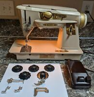 Singer 500a Rocketeer Slant o Matic Vintage Sewing Machine Tested Works Extras