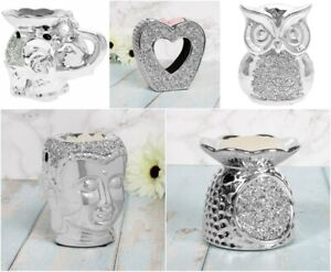 SILVER SPARKLE DIAMANTE CRYSTALS WAX MELT OIL BURNERS WARMER TEALIGHT GIFT BOXED