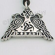 VALHALLA Norse Viking Pendant ODIN God Raven Warrior's Rune Talisman Necklace