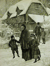 A. Forrester CHRISTMAS DAY Family Going to Church in Snow 1894 Art Print Matted
