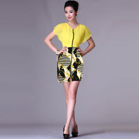 SALE Printed Summer Chiffon V-Neck Dolman Drop Sleeve Zip Day Short Yellow Dress