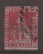 TOSCANA 1851-2 cr. 1 carminio su azzurro n° 4b USATO - C.V. 2009 € 375,00