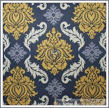 BonEful Fabric FQ Cotton Joel Dewberry VTG Gray Yellow Cream Flower Damask Heart