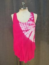 Erge Girls Pink & White Tie Dye Sleeveless Loose Fit Tank Top Size Small 6/7