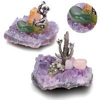 Amethyst Cluster Quartz Crystal Natural Purple Geode Healing Ornament Home Decor