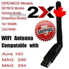 2x Wireless HD Aura Jynxbox Jynx MAG 250 254 255 256 322 WiFi USB Antenna Stick