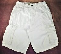 Anchorblue Mens Beige Cargo Shorts Sz 28 Flat Front Drawstring Cotton Outdoor