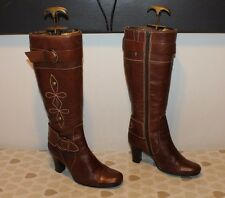 Brown Leather Zip Buckle Side Mid Calf High Heel Casual Riding Boots Size 5 / 38