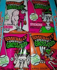 "UNOPENED ""3 WAX PACK LOT"" SEALED VINTAGE BASEBALL GROSS-OUT STICKER CARDS FUNNY"