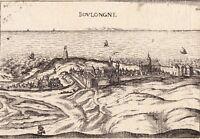 Gravure XVIIe Vue de Boulogne sur Mer Pas de Calais Christophe Tassin 1634