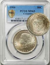 Colombia 1906 50 Centavos PCGS Secure Plus MS-63