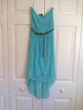 NWT Light Blue Strapless Smocked Hi Low Hem Lace Dress with Braided Belt XS