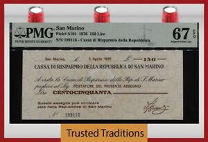 TT PK S101 1976 SAN MARINO CASSA DI RISPARMIO DELLA REP 150 LIRE PMG 67Q 2 OF 2!