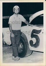 Auto Racer Jimmy Finger of Texas by His Car Press Photo
