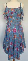 Label of Love Size 8 Casual Blue Multicolour Floral Boho Ruffle Sleeveless Dress
