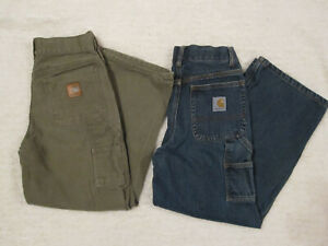 LOT 2 Boys CARHARTT Carpenter Pants Jeans Adjustable Waist DENIM GREEN Canvas 10