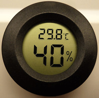Digital Cigar Humidor Hygrometer Thermometer Temperature Round Black Gauge New