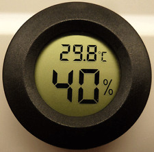 Digital Cigar Humidor Hygrometer Thermometer Temperature Round Black NEW