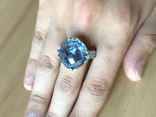 QVC JUDITH RIPKA BLUE TOPAZ SPINEL CRYSTAL DIAMONIQUE CZ 925STERLING SILVER RING