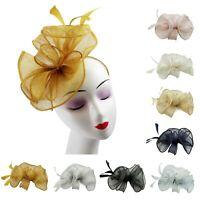 Womens Ladies Elegant Sinamay Flower Feather Headband Fascinator Hair Band