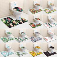 3PC / Set Flamingo Toilet Seat Cover Cute Animals Bathroom Mat Rug Home Decor