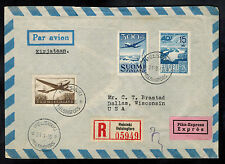 1950 Helsinki Finland Airmail cover to USA # C2 C3