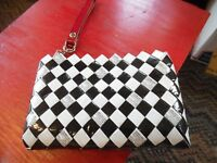 Nahui Ollin candy wrapper clutch wristlet bag black & white with red handle -