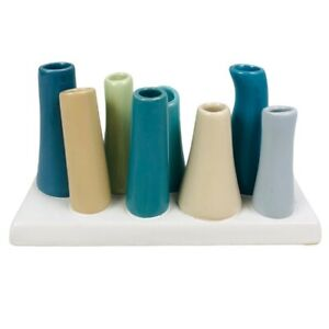 Chive Pooley Bud Flower Vase Blue Multicolor Glazed Ceramic Tube Base Modern