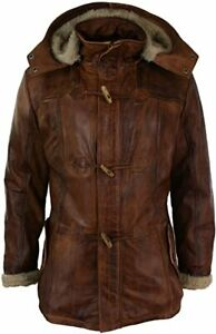 Real Sheepskin Leather Hood Duffle Safari Jacket Washed Timber Brown Tan