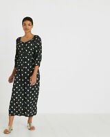 Oliver Bonas Women Sundaze Floral Print Black Midi Dress 6