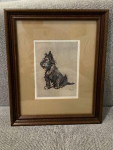 Antique Cecil Aldin Terrier Dog Framed Lithograph Print